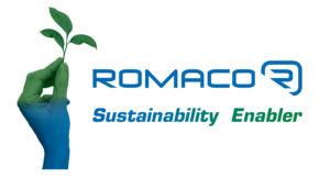 Grüne Hand mit Romaco-Logo hält einen Keimling