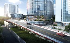 Modell des neuen Industrieparks von Truking: Ansicht von der Straße