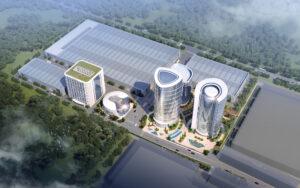 Modell des neuen Industrieparks von Truking: Ansicht von oben